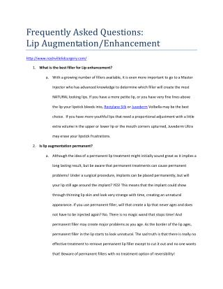 Lip Augmentation 101