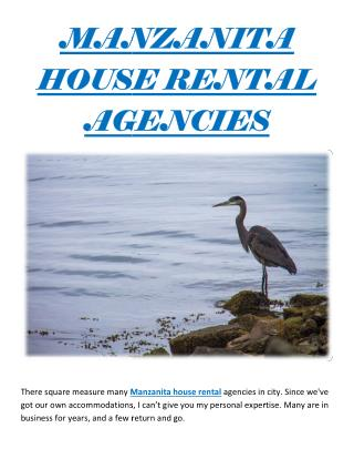 MANZANITA HOUSE RENTAL AGENCIES
