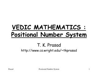 VEDIC MATHEMATICS : Positional Number System