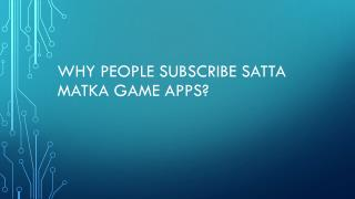 subscribe Satta Matka Game Apps