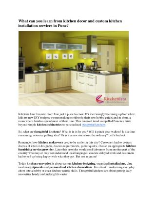 Best custom kitchen designing and decor services in Pune