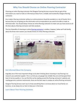 Why You Should Choose an Online Flooring Contractor