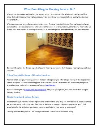 What Does Glasgow Flooring Services Do?