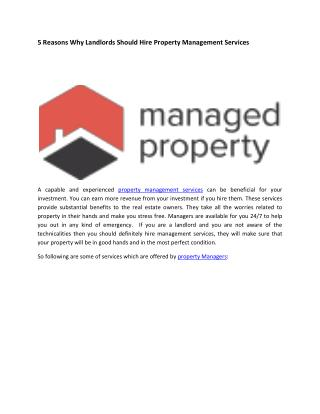 Why Landlords Should Hire Property Management Services