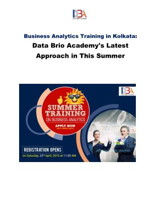 Business Analytics Training in Kolkata: Data Brio Academy's Latest Approach in This Summer