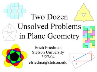 Two Dozen Unsolved Problems in Plane Geometry