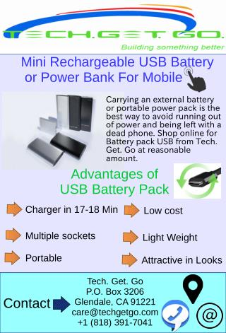Mini Rechargeable USB Battery or Power Bank For Mobile