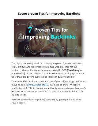 Seven proven Tips for Improving Backlinks