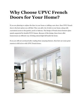 Why Choose UPVC French Doors for Your Home?