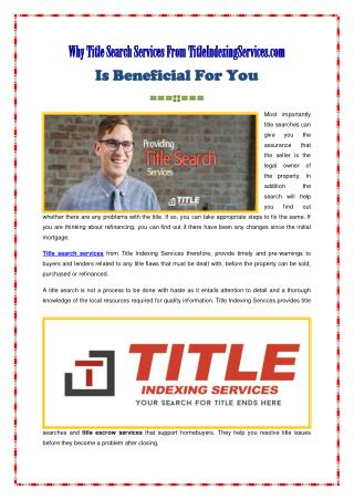 Why Title Search Services From TitleIndexingServices.com