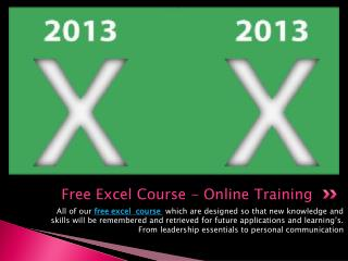 Free Excel Course - Online Training