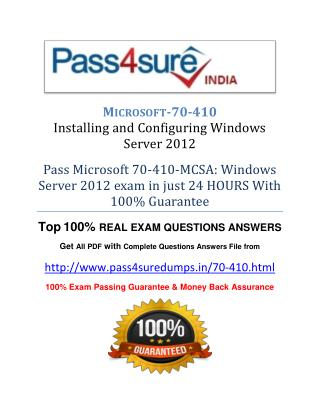 Pass4sure 70-410 Study Guide