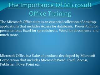 The Importance Of Microsoft Office Training