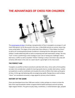 THE ADVANTAGES OF CHESS FOR CHILDREN