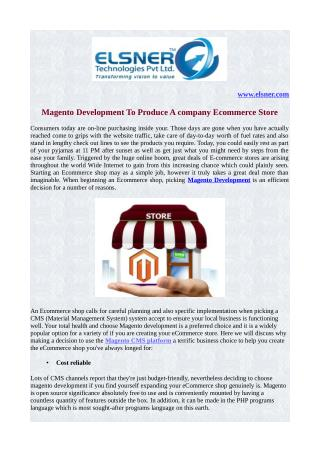 Magento Development To produce A company Ecommerce store