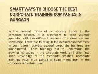 Smart Ways To Choose the Best Corporate Training Companies in Gurgaon