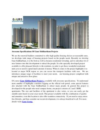 Awesome Specifications Of Gaur Siddhartham Projects