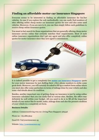 Finding an affordable motor car insurance Singapore