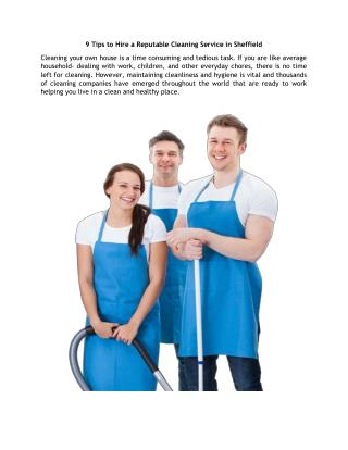9 Tips to Hire a Reputable Cleaning Service in Sheffield
