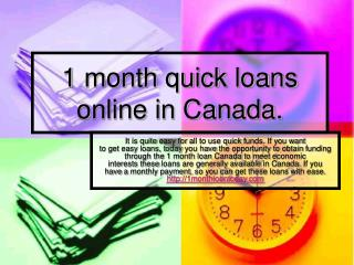 1 month quick payday loans online in Canada