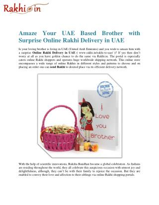 Amaze Your UAE Based Brother with Surprise Online Rakhi Delivery in UAE