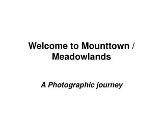 Welcome to Mounttown / Meadowlands