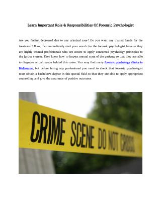 Learn Important Role & Responsibilities Of Forensic Psychologist