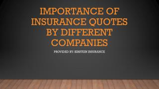 Importance Of Insurance Quotes By Different Companies