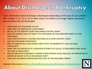 About Discharge in Bankruptcy