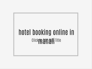 hotel booking online in manali