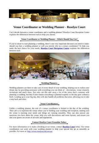 Venue Coordinator or Wedding Planner - Roselyn Court