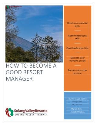 How to become a good resort manager