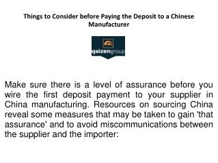 Things To Be Considered Before you Make the Deposit Payment in China Manufacturing