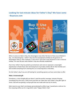 Looking for last-minute ideas for Father's Day? We have some –Buynuse.com