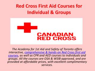 Red Cross First Aid Courses for Individual & Groups
