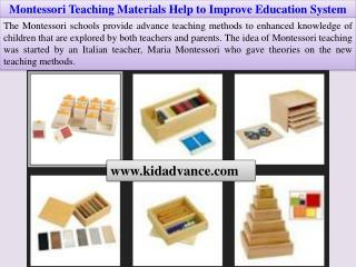 Montessori Teaching Materials Help to Improve Education System