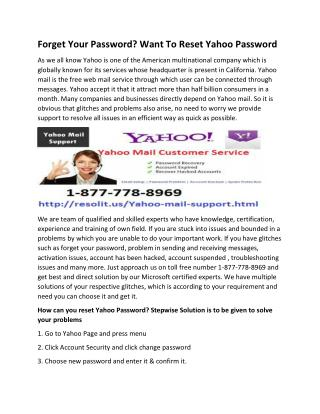 Forget Your Password? Want To Reset Yahoo Password