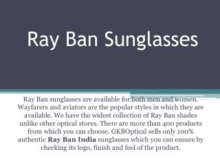 Ray Ban Sunglasses - The Famous Branded Eyewear