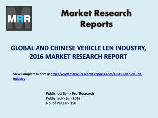 Global Vehicle Len Industry Current State with Focus on Chinese Market Analysis and Forecasts 2016 to 2021