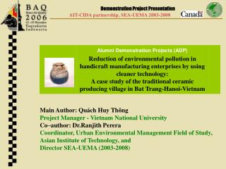 Main Author: Qu ch Huy Th ng Project Manager - Vietnam National University Co author: Dr.Ranjith Perera Coordinator, Urb