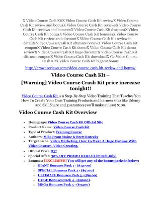 Video Course Cash Kit Review – (Truth) of Video Course Cash Kit and Bonus