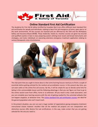 Online Standard First Aid Certification