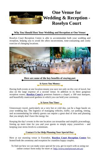 One Venue for Wedding & Reception - Roselyn Court