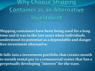 Why Choose Shipping Container as an Alternative Investment