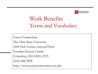 Work Benefits Terms and Vocabulary