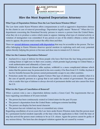 Hire the Most Reputed Deportation Attorney
