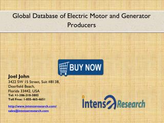 Global Database of Electric Motor and Generator Producers Market 2016: Industry Analysis, Market Size, Share, Growth and