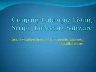 Company Catalogue Listing Script | Edirectory Software
