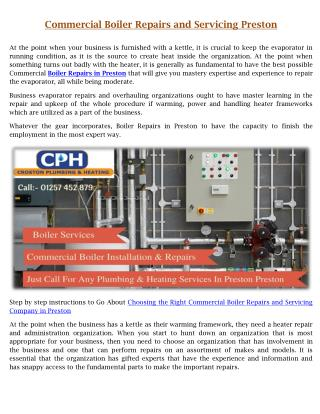 Get best commercial boiler repairs and servicing in preston | CPH