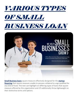 VARIOUS TYPES OF SMALL BUSINESS LOAN